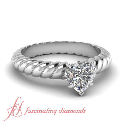 1/2 Carat Heart Shaped Diamond Rope Pattern Solitaire Engagement Ring For Women