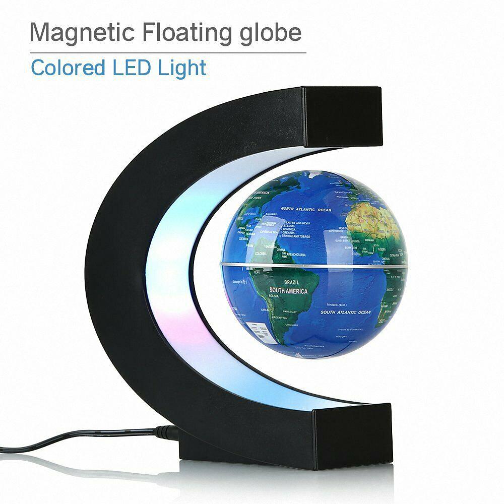 6inch Magnetic Levitation LED World Map Floating Rotating Ball Globe Desktop New