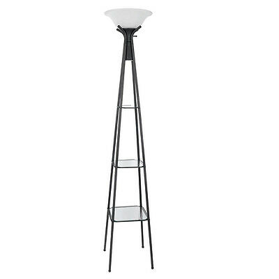 Torchiere Floor Lamp Lighting Frosted Glass Shade Charcoal Black Base 3 Shelves