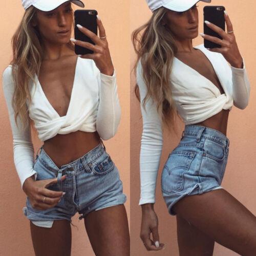 Womens Deep V Neck Long Sleeve Cross Tank Cami Shirt Fit Coss Wrap Crop Tops