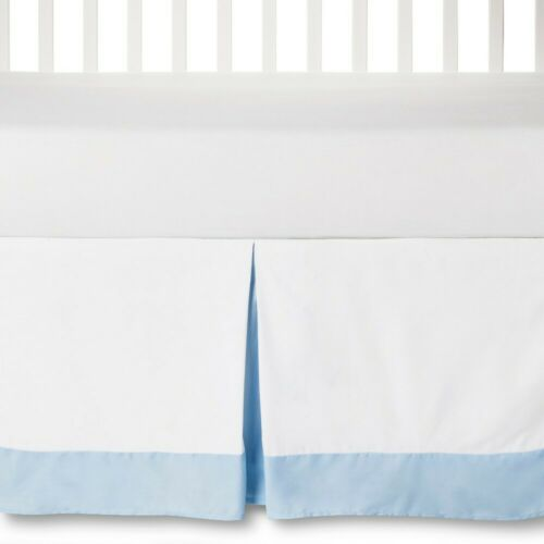 Circo Crib Skirt Baby Blue And White- Fits Standard Cribs 14 inch drop height