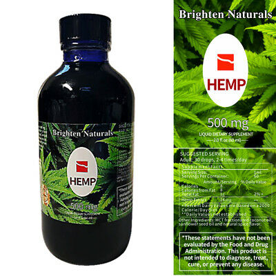 New Hemp Oil Brighten Naturals 500Mg   Pure  Omega 6  Omega 3   Free Shipping Us