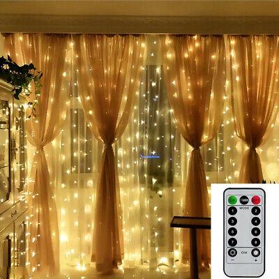 300 LED Potencia Cortina Luces Fairy Cuerda Exterior Navidad Fiesta Jardín Deco