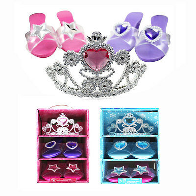 Princess Girls Dress Up Costume Party Play Set Toy Shoes Tiara Xmas Gift Box NIB