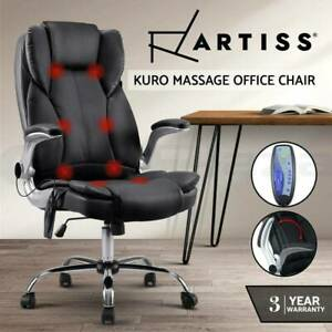 8 Point Massage Office Chairs Computer Desk Chairs Armrests Black