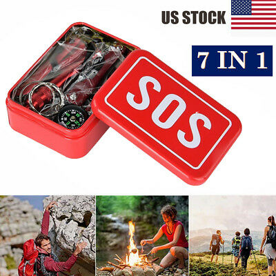 7in1 SOS Emergency Tactical Survival Equipment Kit Outdoor Gear Tool Camping USA