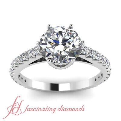 1.35 Ct Round Ideal Cut H-Color Diamond Mount Rim Engagement Ring Pave Set GIA 2