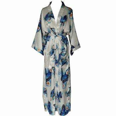 Kimono Robe Wedding Bride Bridesmaid Long Bathrobe with Pocket Floral Butterfly