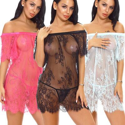 Women Lingerie Lace Babydoll Off-Shoulder Chemise Sheer Sleepwear Nightwear US