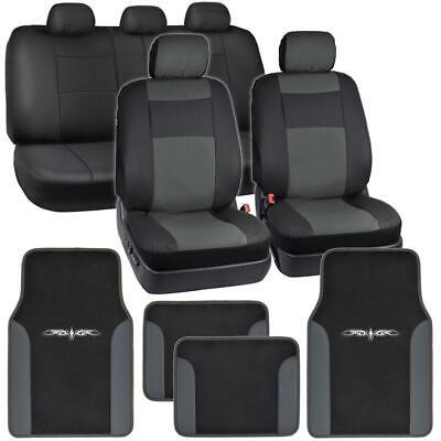 - Dark Gray on Black PU Leather Seat Covers for Car w/ Vinyl Trim Floor Mats