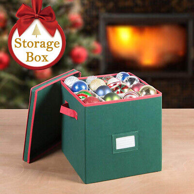 64 Holes Xmas Christmas Ball Ornament Box Storage Decor Container Case with Lid ()