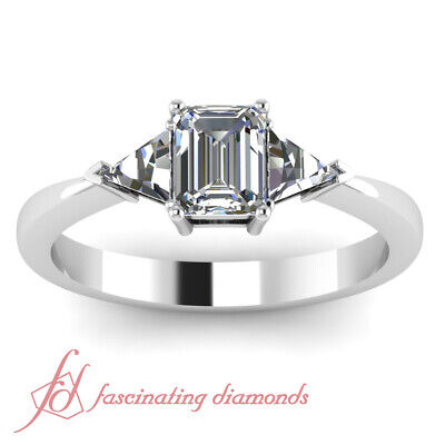 .80 Ct Emerald Cut Diamond Three Stone Engagement Ring SI2-E Color GIA Certified 2