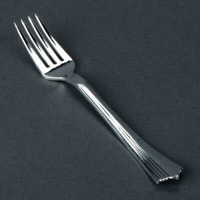 80 Silver Plastic Reflections Forks Disposable Cutlery With A Silverware Look