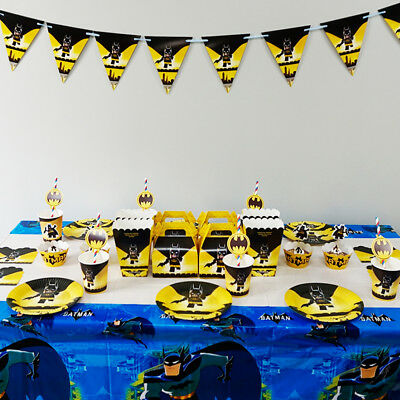 Batman Themed Birthday Party (Batman Theme Birthday Party Decoration Tableware Range (Plates Cups Banners)