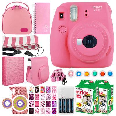 Fujifilm Instax Mini 9 Instant Film Camera Flamingo Pink + Instax + Case + More