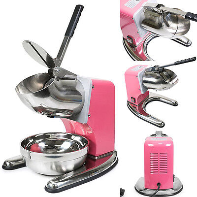 Pink Commercial Dual Blade 143lbh Ice Shaver Crusher Shaved Icee Maker Machine