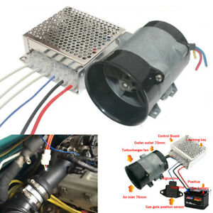 12V Automatic Car Power Turbine Booster Turbo Charger Fuel Saver w/ Controller