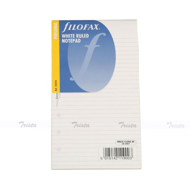New Filofax Personal Size Organiser White Ruled Notepad Refill Insert - 132210