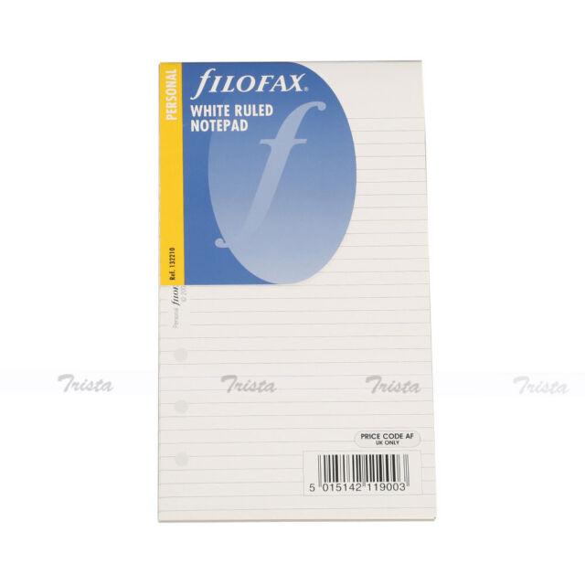 New Filofax Personal Size Organiser White Ruled Notepad Refill Insert - 132210