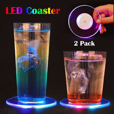 Drink Nightclub Halloween Party (2 LED Light Cup Pad Beer Drink Holder Mat Coaster Halloween Party Club Bar)