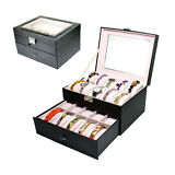 Large 20 Slot Watch Leather Display Case Organizer Glass Top Jewelry Box Storage