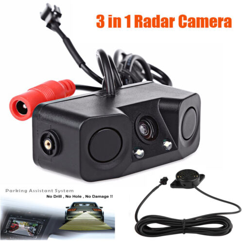Car Backup Parking Radar Rear View Camera With Parking Sensor 3-In-1 US