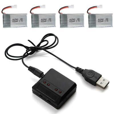 Charger + 4pcs 3.7V 600mAh Lipo Battery for Hubsan H107L Drone Syma X5C F5C