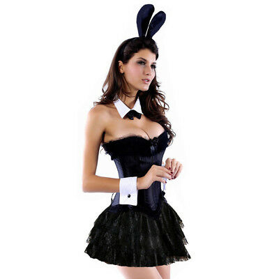 Ladies Sexy Bunny Rabbit Halloween Hen Night Fancy Dress Costume Outfit Black