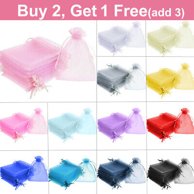 Jewellery - 25 / 50 ORGANZA BAGS Wedding Party Favour Gift Candy Jewellery Pouch Large Small