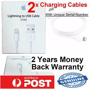 2 x Genuine Apple Lightning Data Sync Cable Charger for iPhone 5C 5S 6 iPad