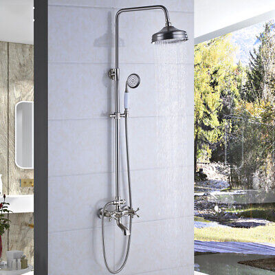 Brushed Nickel Shower Faucet 8 inch Rainfall With Hand Shower Tub  Mixer Tap