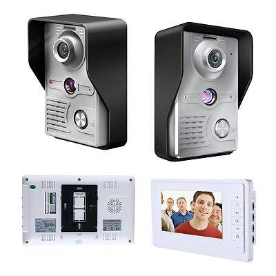 """Modern Design 7""""LCD Video Door Phone Doorbell Intercom Kit 1-IR Camera 1-Monitor"""