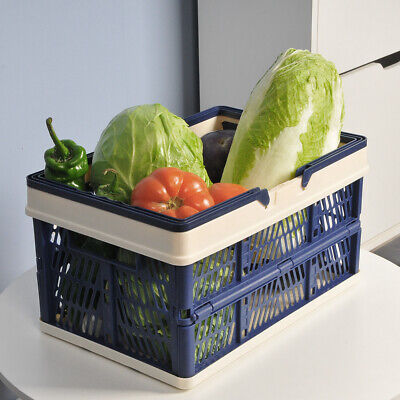4pcs Collapsible Plastic Shopping Baskets W Handle Containersbins Home Grocery