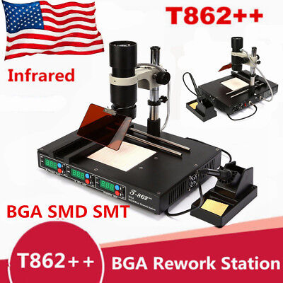 T862 Bga Infrared Rework Station Smd Irda Heating Soldering Welder Machine Us
