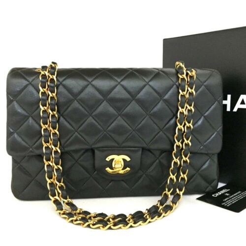 CHANEL Double Flap 25 Quilted CC Logo Lambskin w/Chain Shoulder Bag Black/oo156