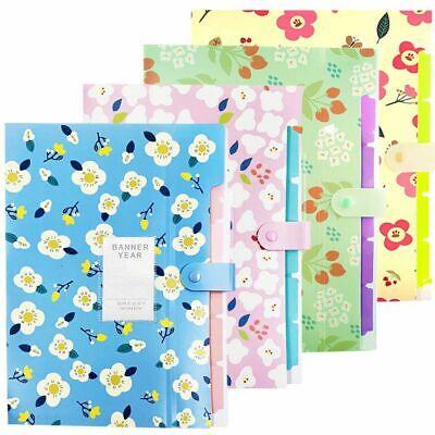 Expanding Letter Organizer 8 Pocket Plastic Floral Printed Accordion File Folder