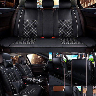 Deluxe All Season 5 Seat Leather Full Car Seat Cover Set 3D Cushion  4 Pillows