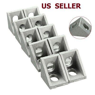 (10PCS 20x20mm Gray Aluminum L Shaped Brace Corner Joint Right Angle Bracket)