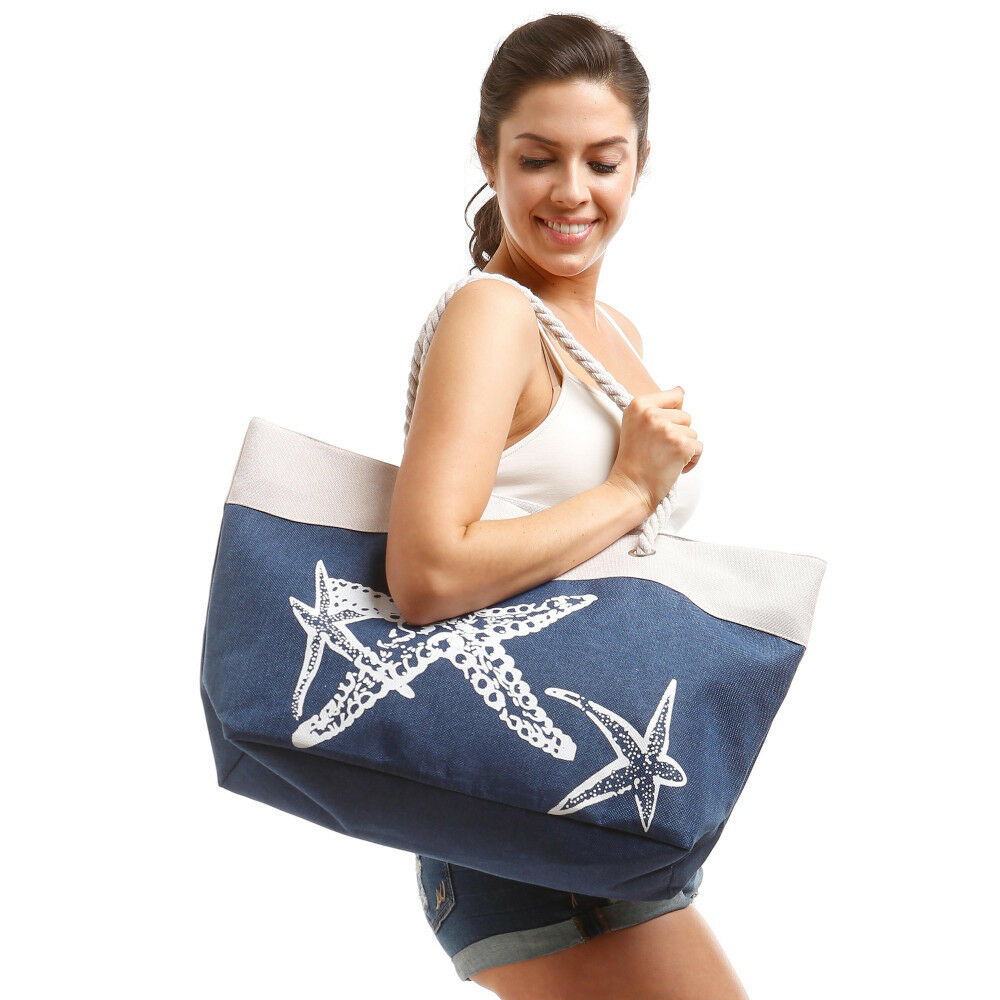 Anchor Bags - Large Summer Tote Bags with Zipper Closure Sho