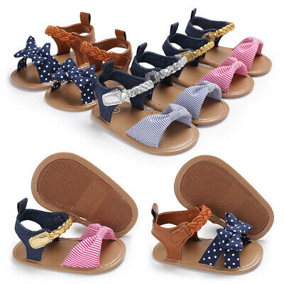 Newborn Infant Baby Girls Bow-Knot Sandals Summer Moccasin Shoes 1st Prewalker