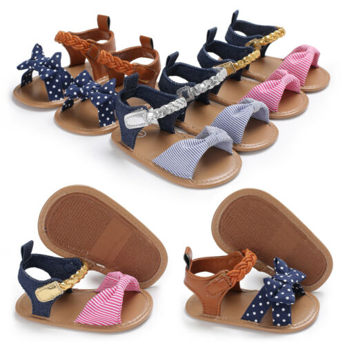 US Newborn Infant Baby Girl Bow-Knot Sandals Summer Moccasin