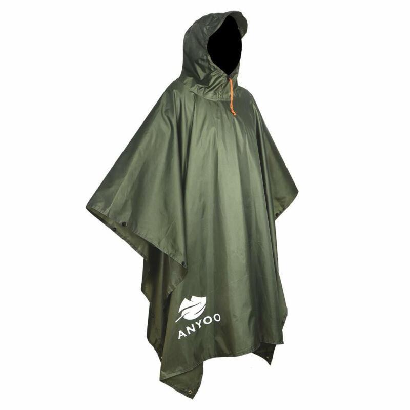 Anyoo Waterproof Rain Poncho Lightweight Reusable Hiking Hoo