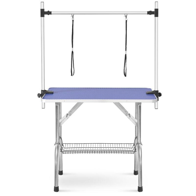 "46"" Foldable Pet Dog Cat Grooming Table Adjustable Arm Noose Heavy Duty Antislip"