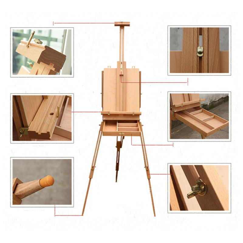 Sketch Box Oil Painting Easel with Palette Folding Durable Red Beech Portable US