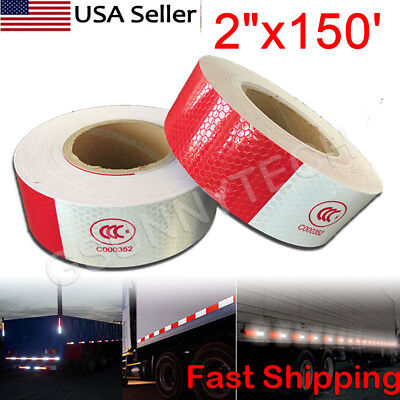"2""x150' Red + White Reflective Conspicuity Car Trailer Safe Tape Approved 1 Roll"