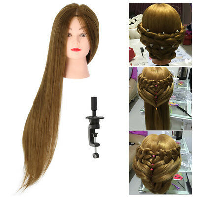 "30"" 50% Real Long Hair Hairdressing Salon Training Head Model + table clamp"