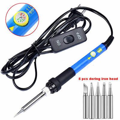 110v 60w Adjustable Temperature Electric Soldering Iron Gun Kit Welding Tool