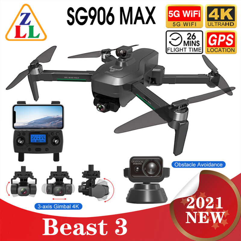 2021 SG906 MAX PRO 2 Beast 3 GPS Drone 4K HD Camera  5G WiFi FPV RC Quadcopter