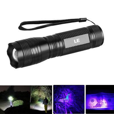 2 in 1 White UV Light LED Flashlight Blacklight Hunting Torc