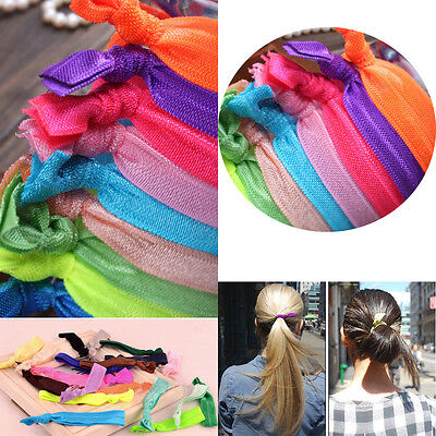 10/100Pcs Candy Elastic Ponytail Holder Girls Ribbon Hair Ties Knotted Hairband